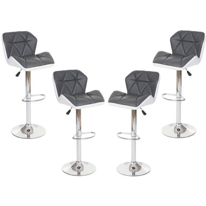 lou lot de 4 tabourets de bar pu gris blanc achat vente tabouret de bar cdiscount. Black Bedroom Furniture Sets. Home Design Ideas