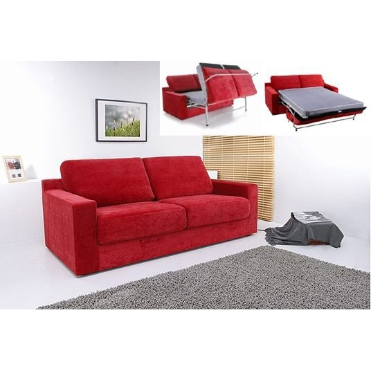 canape convertible modulo microfibre rouge achat vente canap sofa divan cdiscount. Black Bedroom Furniture Sets. Home Design Ideas