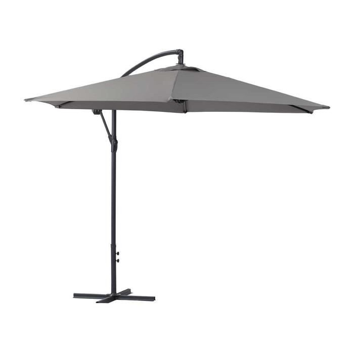 parasol jardin d port en aluminium ilios rond 3 m gris achat vente parasol. Black Bedroom Furniture Sets. Home Design Ideas