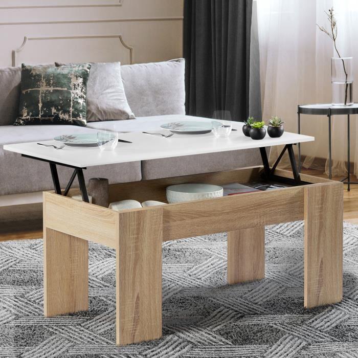 TABLE BASSE Table basse avec plateau relevable bois blanc et i