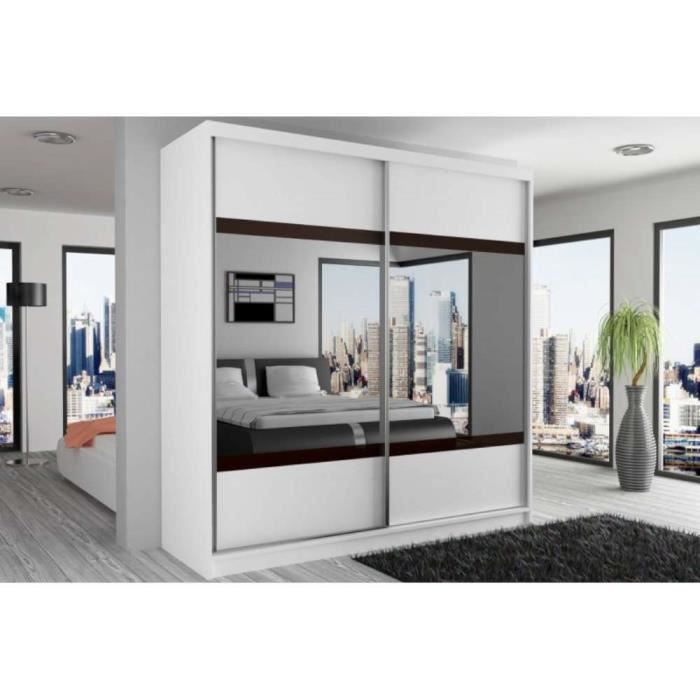 justhome mirror vi armoire 218x133x60 cm couleur blanc blanc weng miroir achat vente. Black Bedroom Furniture Sets. Home Design Ideas