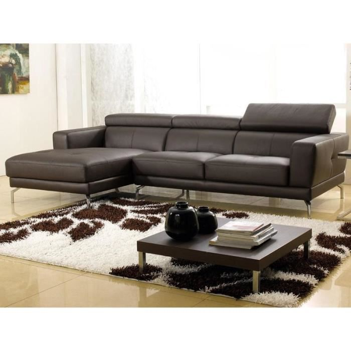 canape d angle cuir chocolat gauche oslo achat vente canap sofa divan cdiscount. Black Bedroom Furniture Sets. Home Design Ideas