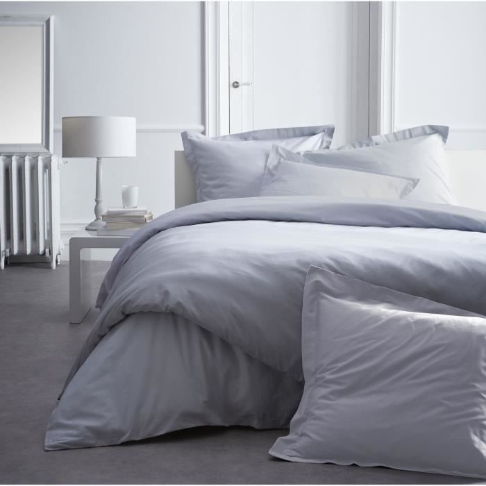 today premium housse de couette percale 100 coton 1 housse de couette 240x260cm zinc achat. Black Bedroom Furniture Sets. Home Design Ideas