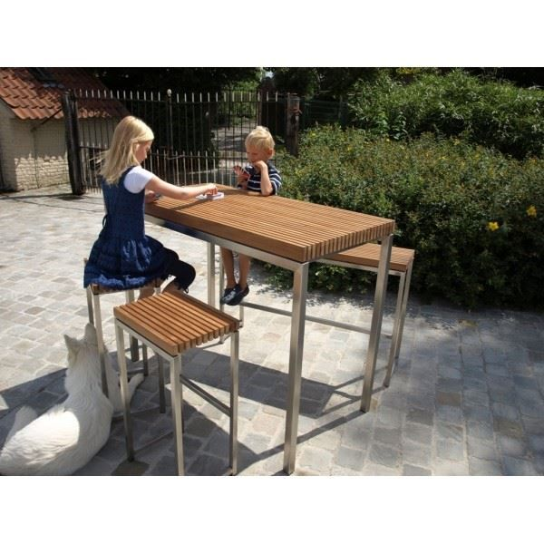Table bar de jardin cortina teck massif inox achat for Achat table bar