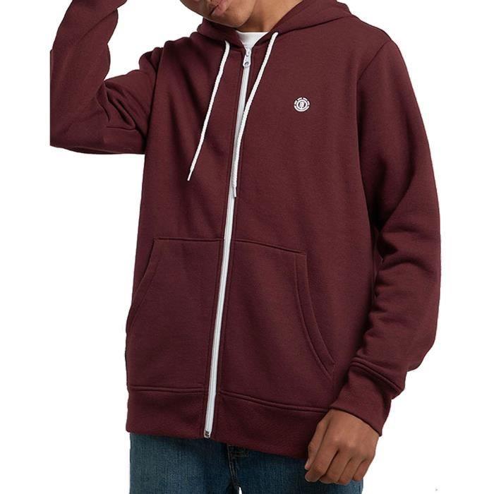 Sweat zippé rouge à capuche CORNELL CLASSIC ZH de marque