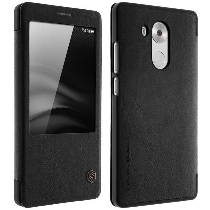 Housse folio cuir fen tre huawei mate 8 noir for Housse huawei mate 8