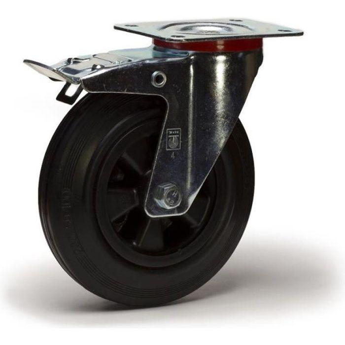 4 Roulette pivotante sans frein Roue bandage caoutchouc noir  Set 125 mm TR-02d4