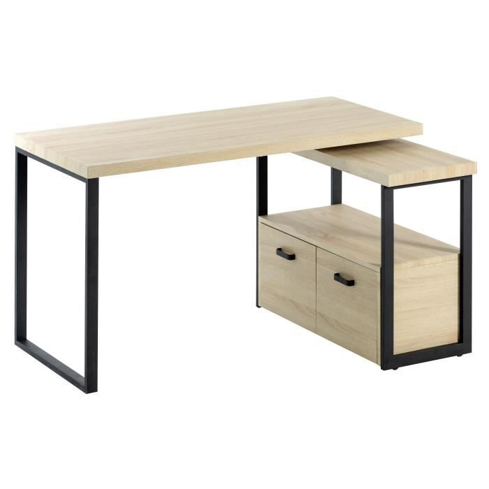 URBAN Bureau dangle scandinave en mtal noir plateau dcor bois