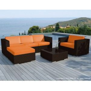 Salon de jardin plastique orange - Achat / Vente Salon de ...