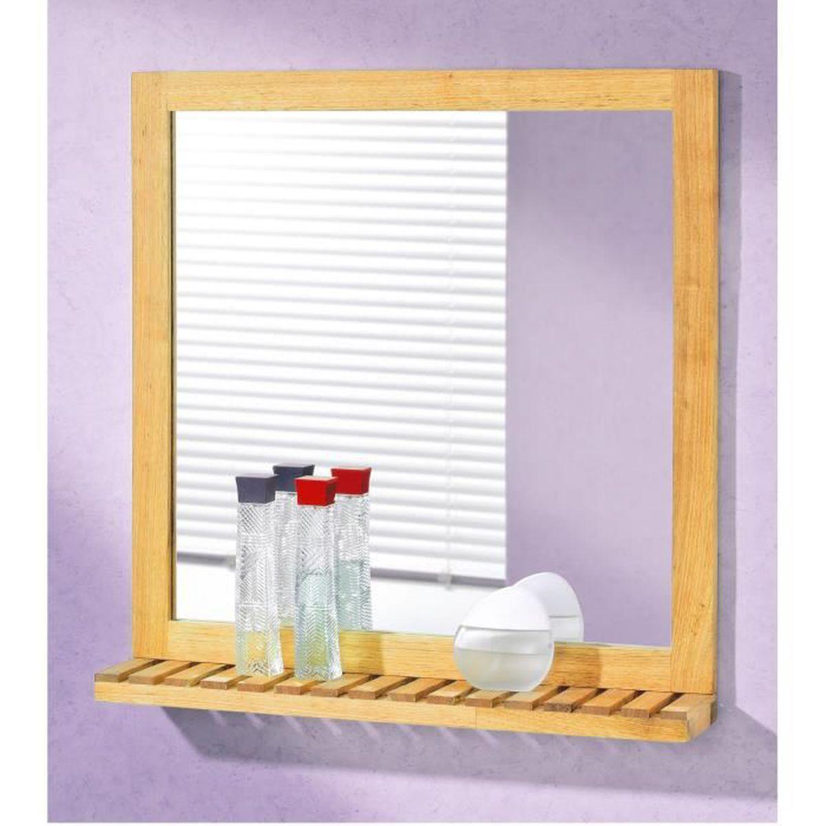 Miroir de salle de bain 60 cm avec tablette bois brut