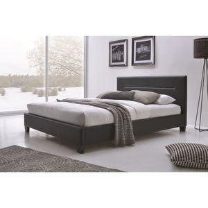 STRUCTURE DE LIT Lit adulte design MITCH noir en simili cuir 140x20