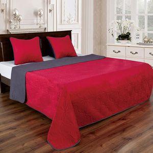 JETÉE DE LIT - BOUTIS Couvre lit florale reversible - Rouge-Gris anthrac