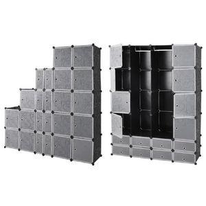 ARMOIRE DE CHAMBRE Armoire étagère modulable en plastique noir 16 cas