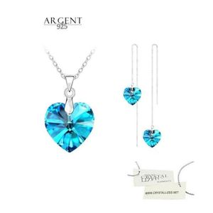 Parure Bijoux Coeur Cristal Swarovski* Bleu Argent 925 Femme Parures