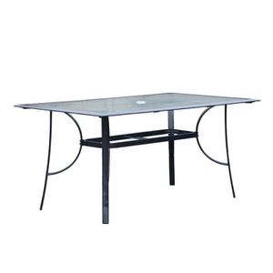 TABLE À MANGER SEULE Table de repas rectangulaire Verre/Aluminium Gris