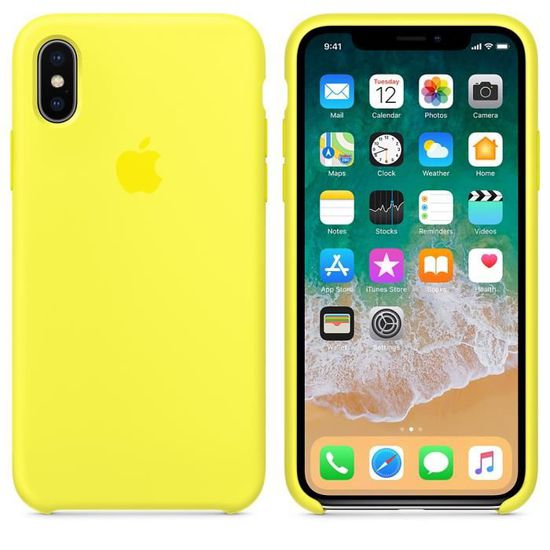 coque en silicone pour iphone x jaune flashy k
