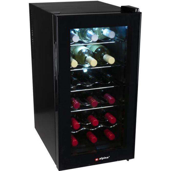 Alpina - 18 Bouteille CAVE A VIN Cavé vin-Cabinet Refigerator Vin Cave - Unique Zone Black Wine Cooler - 52 Liter