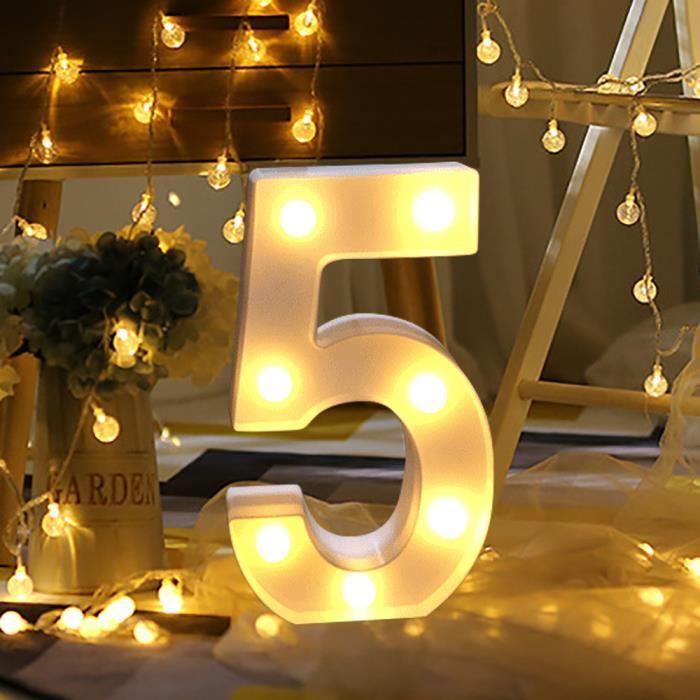 Les lumières numériques de l'alphabet LED éclairent la pendaison debout en plastique blanc numérique 5 AU1279