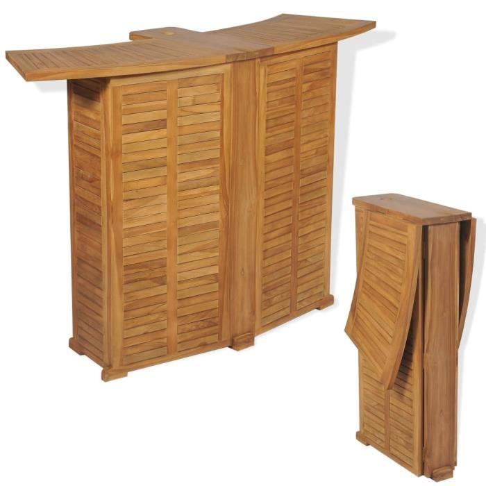 Table de bar d'extérieur Teck 155 x 53 x 105 cm