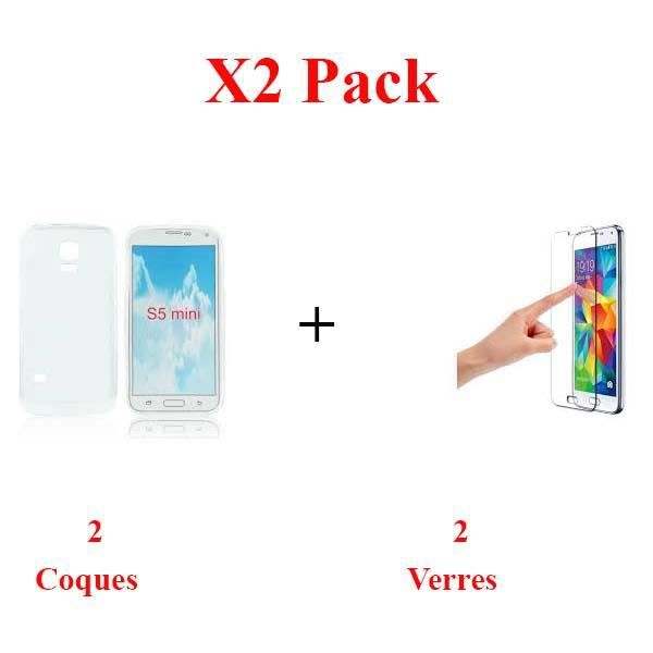 X2 Pack, Pack verre+coque samsung s5 mini Protection integrale