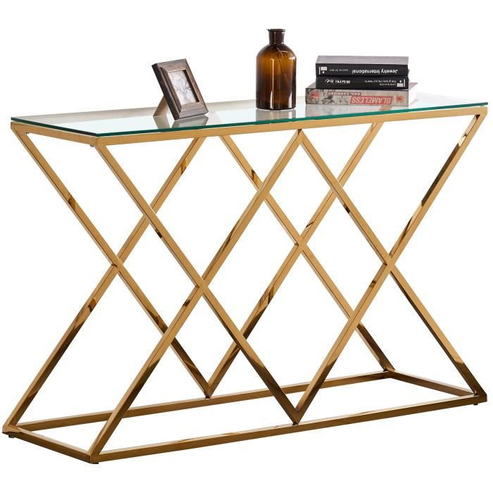 Console design en acier doré avec plateau en verre transparent collection ROMA L. 120 x P. 40 x H. 78 cm Or, Transparent