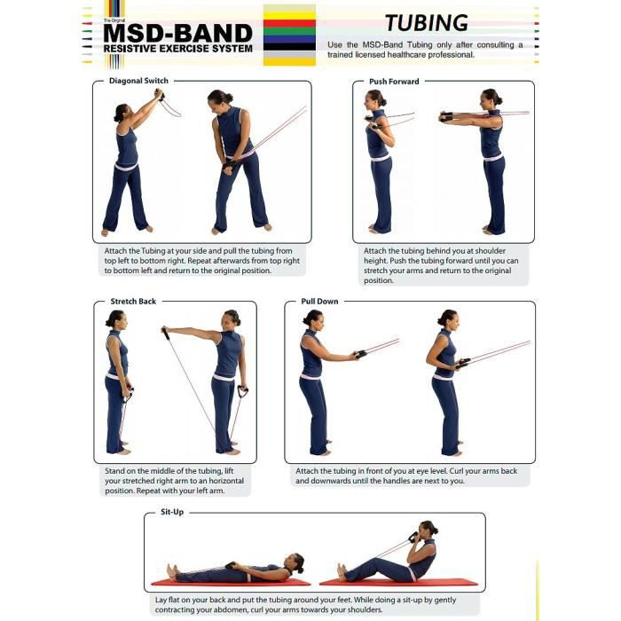 Tubes d'exercices élastique MSD set avec poignées 120 cm, faible - jaune