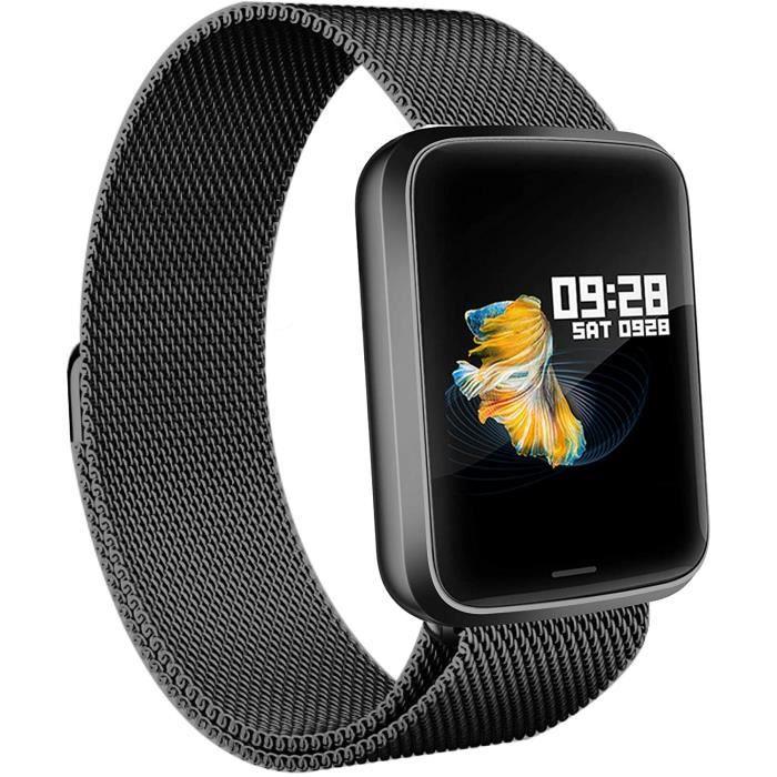 Lintelek Montre Connectée Intelligente, Pression Artérielle Cardio Fréquence Smartwatch Bracelet Connecté Ecran Couleur Montre Sport