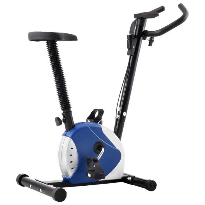 vidaXL Vélo d'appartement avec résistance à courroie Bleu - 8719883721125