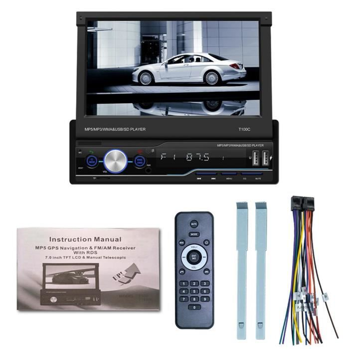 Sans caméra autoradio CarPlay rétractable MP5, lecteur multimédia, stéréo, AM-FM, Bluetooth, Navigation GPS,