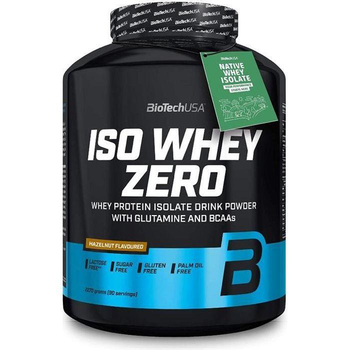 Iso Whey Zero 2.27kg NOISETTE Proteine ISOLATE 2270g Biotech USA