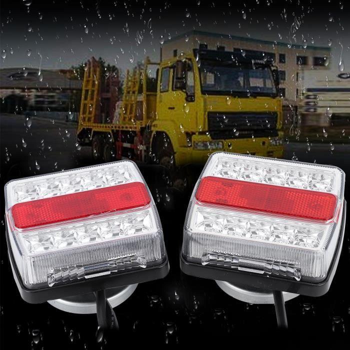 Cikonielf Feu arrière à LED,1 paire de lampe de panneau arrière de remorquage de remorque à LED magnétique avec câble de 10 m