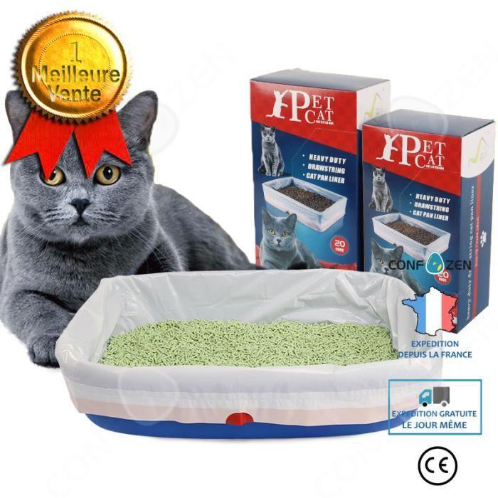 CONFO® Sac poubelle bac à litière pour chat spécial pour toilette pour chat grande toilette jetable épaissie pour chat