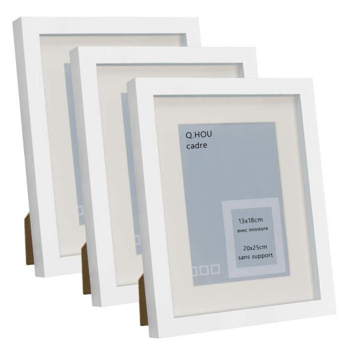 HAP TIM Cadre photo 20x25 cm avec passe-partout, support pour photo 7x5cm-10x8cm sans passe-partout, x3, façade en verre- blanc