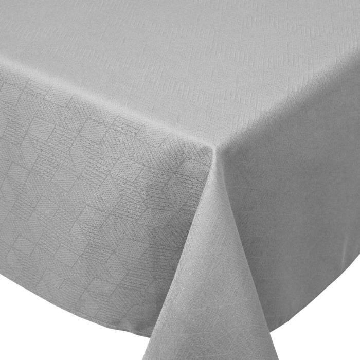 Nappe carrée 150x150 cm Jacquard 100% coton CUBE gris Perle Gris