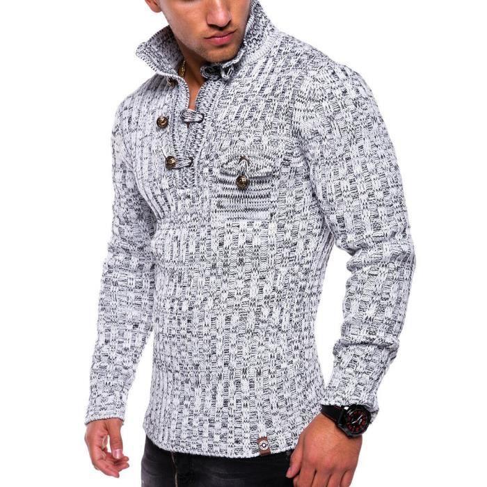 Pull homme fashion Pull 17406 blanc mélangé