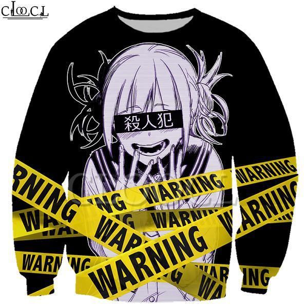 Sweat-Shirt Homme,Sweat-shirt animé pour filles Toga Himiko My Hero academy, avec avertissement imprimé 3D, pour hommes et femmes,