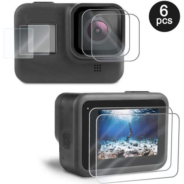 ®cBOX 2 sets de 3 Films en Verre Trempé pour GoPro HERO Black 8: Ecran, objectif et LCD digital