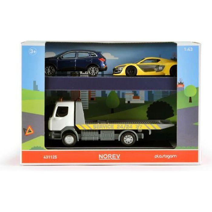 NOREV Coffret Grand Camion dépannage Renault trucks 18 cm de long + 2 Voitures 10 cm RS 01 jaune et Kdajar