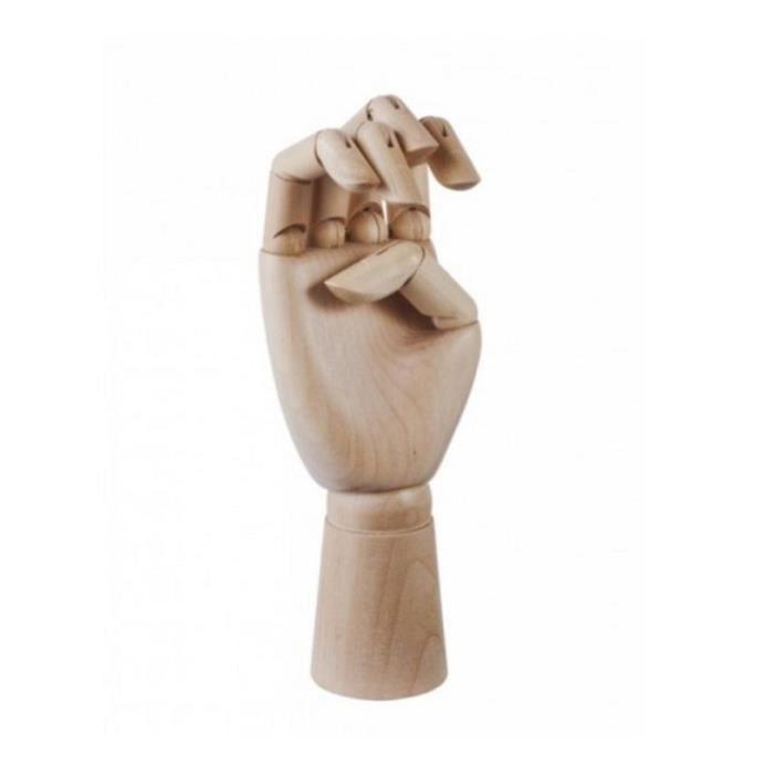 Main articulée en bois porte bijoux