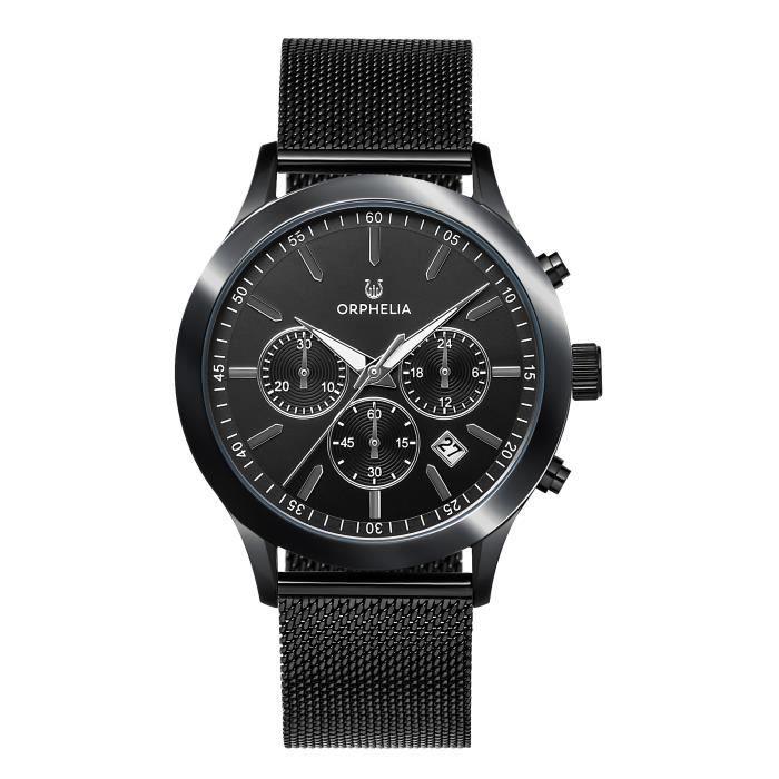 ORPHELIA - Montre Homme - Quartz Chronographe - Bracelet Acier inoxydable Noir - OR82804