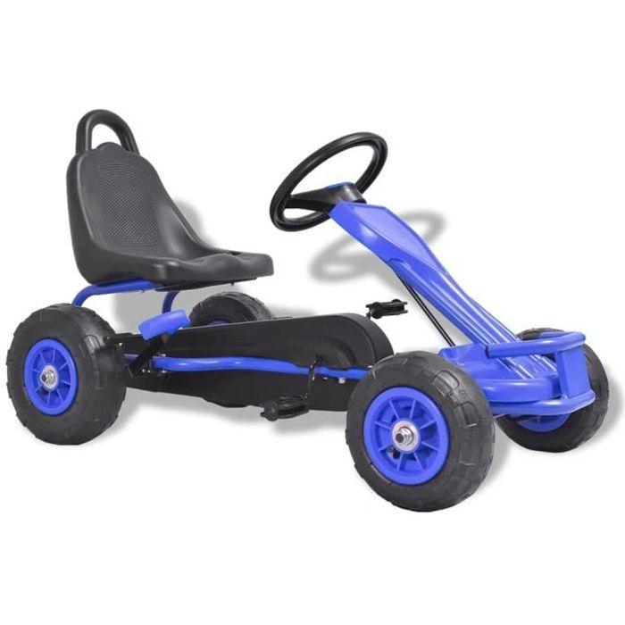 Kart à pédales avec pneus Bleu Voiture Miniature Go-Kart - Convient pour 4 à 8 ans - Nouveau