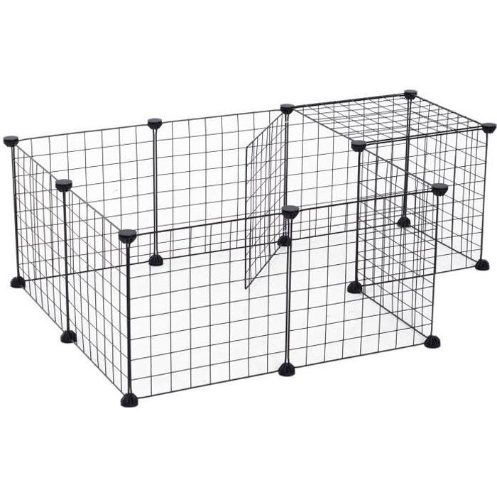 Enclos modulable pour Petits Animaux Cage intérieur L106 x l 73 x H36 cm bords arrondis fil métallique noir lapin Cochon d'inde