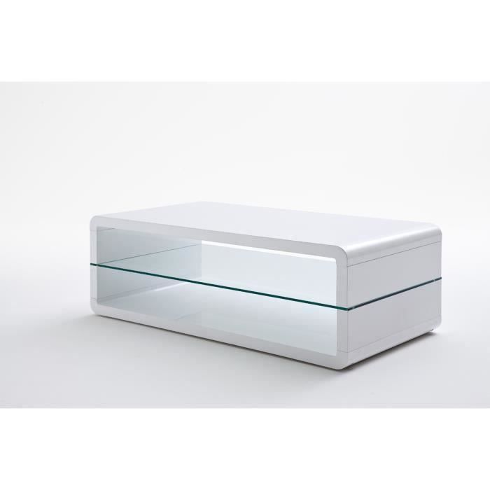 Table basse avec etagere verre laque blanc brillant - L120 x H41 x P60 cm