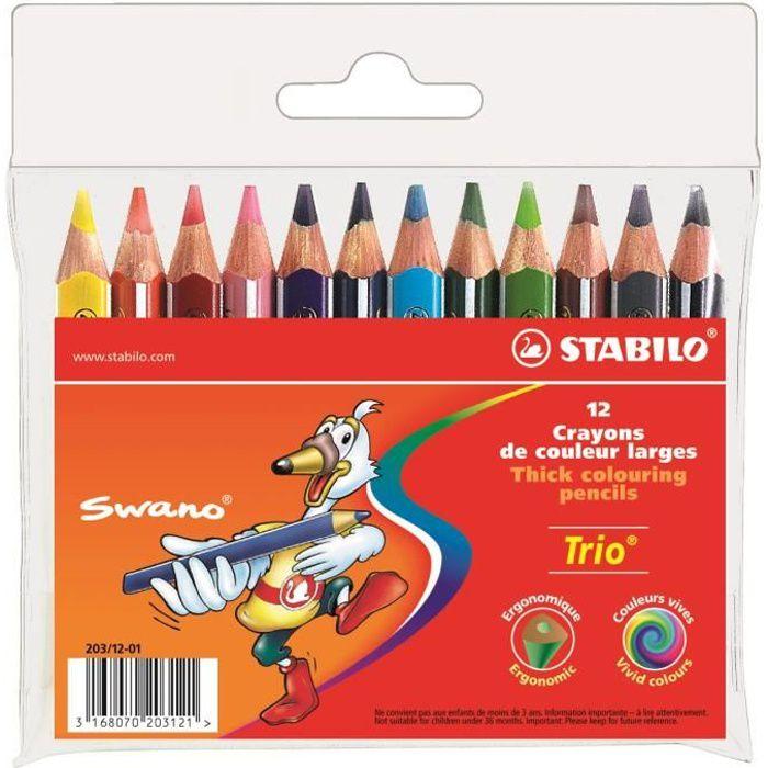 STABILO Trio court - Pochette de 12 crayons de couleur