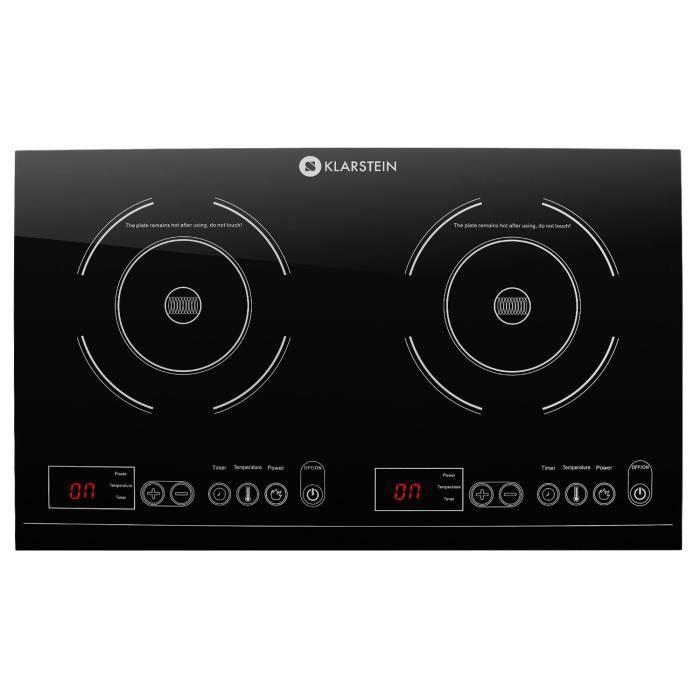 Klarstein VariCook XL Double plan de cuisson à induction 3100W max. - 10 niveaux de puissance - Ecran LED - Commande tactile - Noir