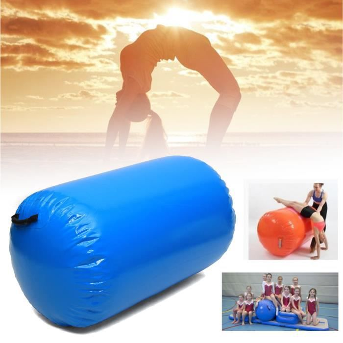 TEMPSA 100CM*65CM Gonflable Air Rouleau Home Training Gymnastique Pr Fitness Sport GYM BLEU