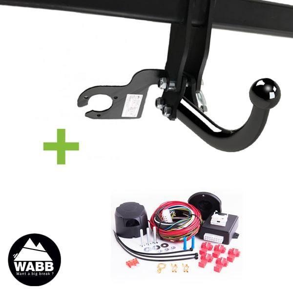 Attelage WABB démontable avec outils + faisceau universel 13 broches compatible feux LED pour Ford Transit Connect II 5 portes Pack