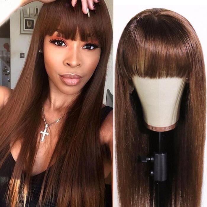 24- droit perruque brésilienne naturelle lisse avec frange cheveux Remy brun moyen faite Machine No lace
