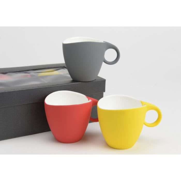 coffret de 6 tasses caf color es gomme amadeus achat vente service th caf cdiscount. Black Bedroom Furniture Sets. Home Design Ideas