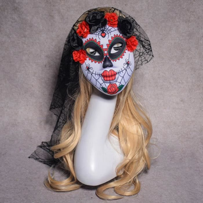 Day of the dead complet visage masque blanc halloween déguisements masque